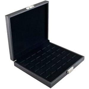 Wide Jewelry Boxes Slot Ring Display Storage Case Holds 36 Rings With Lock