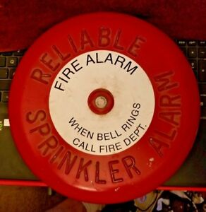 Vintage Red Reliable Sprinkler Alarm Fire Alarm When Bell Rings Call Fire Dept
