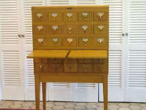 Gaylord Brothers Vintage 25 Drawer Library Card Catalog Cabinet On Stand 1950 S