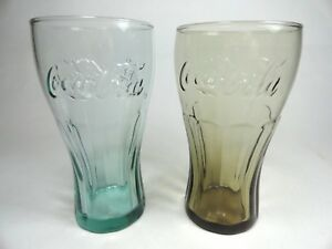 Mcdonalds Coca-Cola 12 ounce Glasses Lot Of 2 Colored Brown and Teal 6""