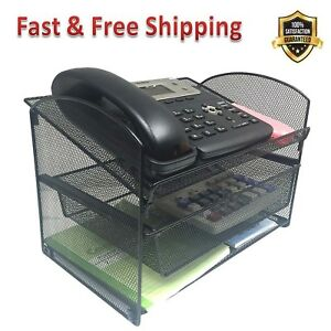 Metal Mesh Desktop Organizer Telephone Stand File Tray Folder Holder With Drawer