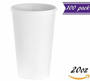 100 Count 20 Oz White Paper Hot Cups Disposable Coffee Cups By Tezzorio