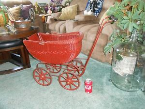 Vtg Antique Wicker Baby Buggy 36 Doll Carriage Stroller