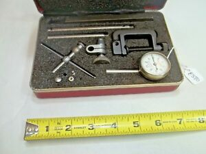 Starrett No 196 Dial Test Indicator Set 001 Jeweled Case And Attachments Usa