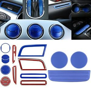 Blue Interior Accessories Decoration Dash Vent Cover Trim For Ford Mustang 15 18