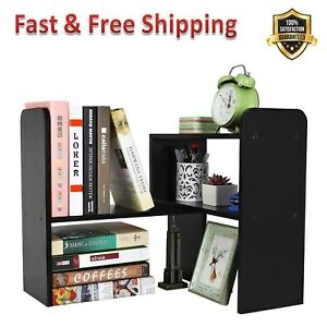 Desktop Bookshelf Adjustable Countertop Office Supplies Wood Desk Organizer New