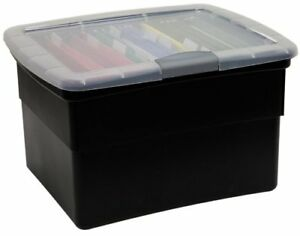 Lock File Plastic Box Storage Organizer Home Office School Letter Documents New