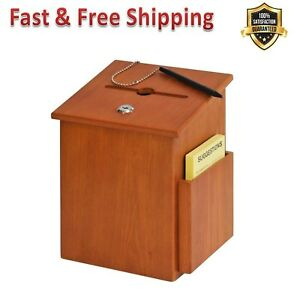 Wood Suggestion Box Medium Oak Tumbler Lock With Two Keys For Securing Employee