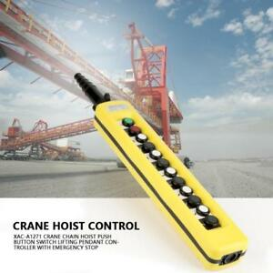 Hoist And Crane Lift Push Button Switch Pendant Controller With Emergency Stop G