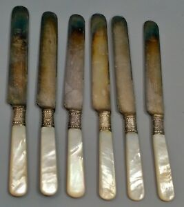 6 Meriden Cutlery 1855 12 Table Knives Mother Of Pearl Handles Sterling Collars