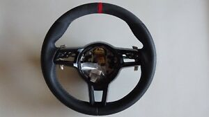 Porsche 991 997 Pdk Carbon Fiber Leather Multi Function Steering Wheel Red Top