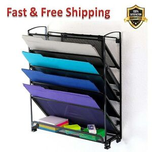 Document Letter Tray Organizer Black Steel Mesh Construction 6 Tier Wall Mount