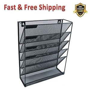 File Organizer Mesh 5 Tier Black Hanging Vertical Holder Rack For Office Home