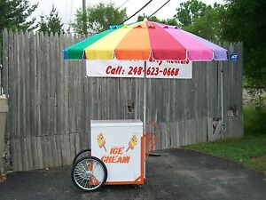 New Vendor Ice Cream Push Cart W umbrella Graphics Good Humor Or Novelty Bars