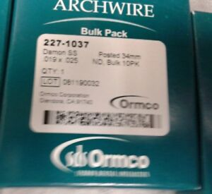Dental Ormco Orthodontic Damon Posted archwire Stainless Steel lot Of 16 Boxes