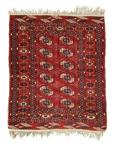 Top Example Superb Lovely Antique 19th Turkoman Small Rug Dehati 1