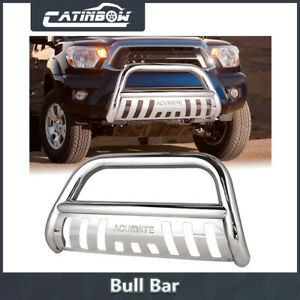 Stainless Chrome Bumper Grill Grille Guard Skid For 2005 2015 Toyota Tacoma