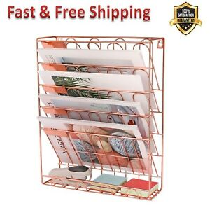 Hanging File Organizer 6 Tier Wall Mount Document Letter Tray Rose Gold New