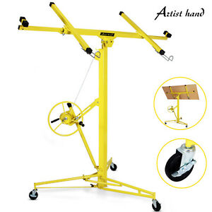 Yellow 16 19 Drywall Panel Lifter Hoist Jack Rolling Caster Lockable Diy Tool