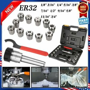 Precision Er32 Collet Set Mt3 Shank Chuck Spanner Box For Milling Machine To