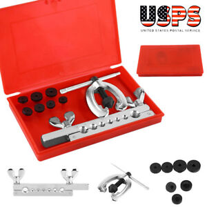 7 Dies Double Flare Tube Brake Lines Pipe Air Condition Tool Flaring Set W Box