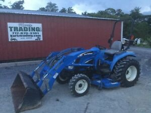 2005 New Holland Tc33da 4x4 Hydro Compact Tractor W Loader Belly Mower