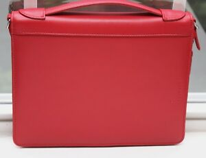 New Levenger Red Leather Note Pad Card Holder Organizer Zip Around Notebook M