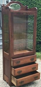 Early 20th C Oak Medical Physicians Antique Cabinet By Frank S Betz Co