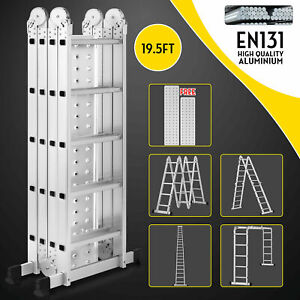 19 5ft Multi Purpose Aluminum Telescopic Ladder Heavy Duty Folding Extension