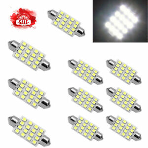 10x White 42mm 16smd Car Led Festoon Dome Map Interior Cargo Light Bulb 211 578