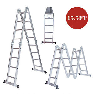 15 5ft Extension Ladder Telescoping Folding Portable Multi Purpose Step Aluminum