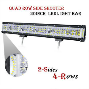 Qaud Row Led Light Bar 22 780w Side Shooter Spot Flood Driving Off Road Atv Suv