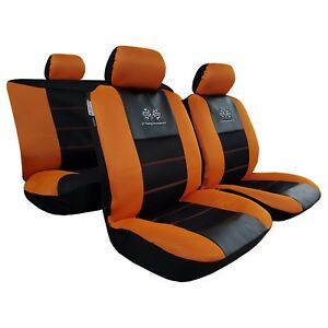 New Embroidery Gt Racing Airflow Mesh Orange Black Car Seat Cover For Ford Mazda