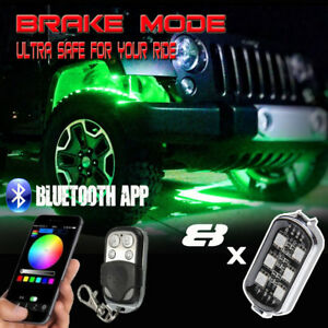 8pcs App Led Rock Lights Jeep Wrangler Off road Glow Under Body Wheel Rig Lights