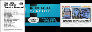 1965 1966 Ford Tractor 3 Manual Set 2000 3000 4000 5000 6000 Shop Owners Sales