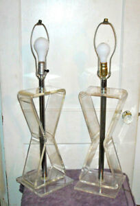 Vintage Mid Century Modern Lucite Chrome Table Lamps