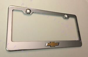 Chevy Bow Tie 3d Raise Emblem Chevrolet Stainless Steel License Plate Frame
