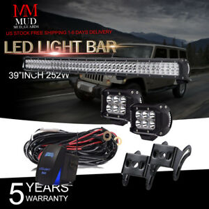 42inch Offroad Led Light Bar 4x 4 Cree Work Pods Bumper Fog Boat Jeep Suv 40