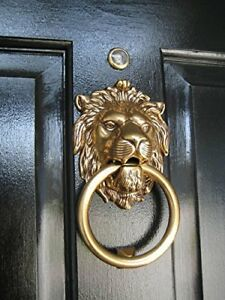 Antique Lion Head Bronze Brass Door Knocker Figure Ring Bell Cast Bells Vintage