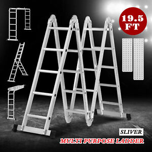 19 5ft Aluminum Ladder Telescoping Folding Step Ladder Portable Multi Position