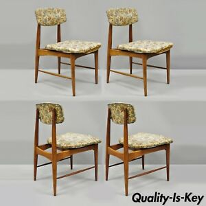 Mid Century Danish Modern Walnut Upholstered Curved Back Dining Chairs Set Of 4