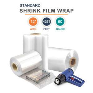 12 Polyolefin Shrink Film Heat Shrink Film Wrap 60 Gauge 4375ft 1 Roll