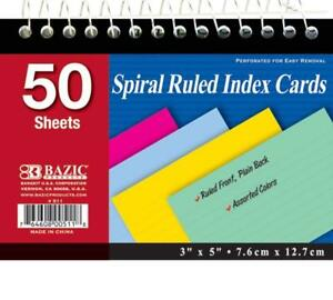 Bazic 50 Ct Spiral Bound 3 Inch X 5 Inch Ruled Colored Index Card Pack Of 36