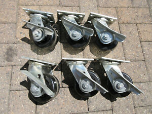 6 Albion Heavy Duty 4 Swivel Plate Casters With Brake M2