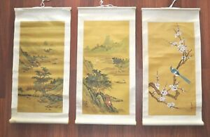 3 Vintage Chinese Hand Painted Silk Wall Art Scroll Signed Mountain River Bird