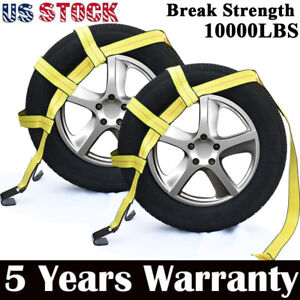 Car Tire Tow Dolly Straps Basket Strap W Flat Hook Heavy Duty Set Of 2 Yellow