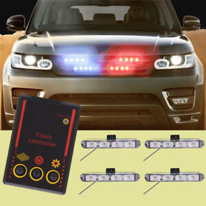 Red Blue Led Emergency Warning Car Truck Strobe Lights For Car Front Grill