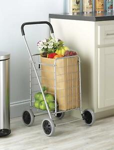 Folding Shopping Cart Basket Wheels Laundry Grocery Travels Carts Baskets New