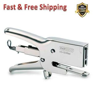 Plier Stapler With Staples 70 Sheet Heavy Duty Contoured Handle Grip Finger Stop