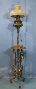 Brass Victorian Piano Lamp Converted From Oil 19th Century 1800s